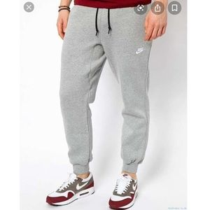 Nike Men's Grey Cuff Fleece Joggers